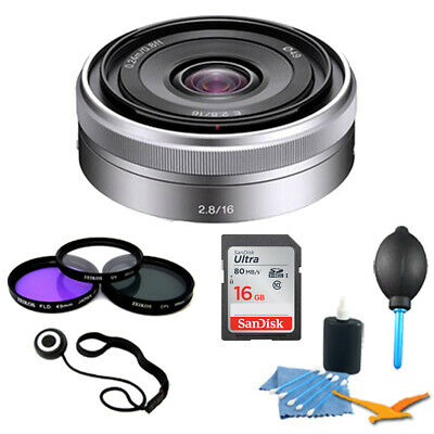Sony SEL16F28 - 16mm f/2.8 Wide-Angle Lens for NEX Series Cameras 8GB Pro Kit