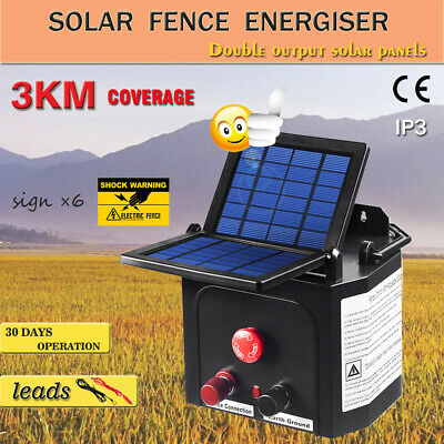 3km Solar Power Electric Fence Energiser Charger 0.15J For Goats Cattle Horses