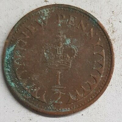 Old Coin 1971 Half New Pence British