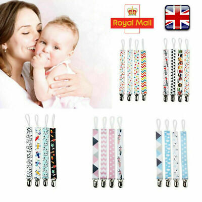 4 X Dummy Clip Baby Soother Clips Chain Holder Strap Pacifier Modern Design UK