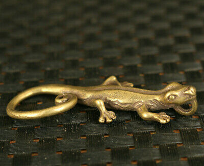 old chinese bronze hand casting gecko statue collectable ornament fine gift