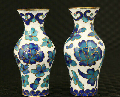 Rare old Chinese porcelain hand paint flower pair vase collectable noble gift