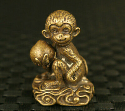 rare old bronze hand cast lovely monkey peach Statue tea tray table decoration