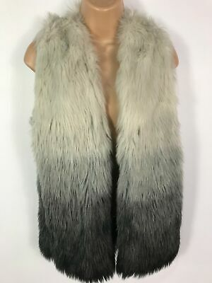 Womens Next Grey Ombre Fluffy Faux Fur Gilet Coat Jacket Size 10