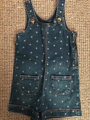 Girls Boden Star Denim Short Dungarees 6-7 Years