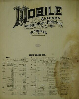 Mobile, Alabama Sanborn Map© sheets made in 1885~28 maps on a CD IN FULL COLOR