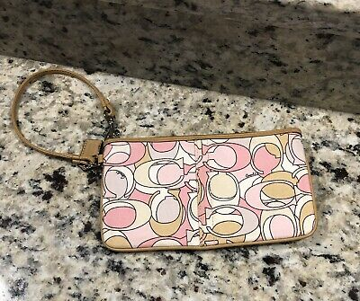 Coach Wristlet Canvas Leather White Pink, Used Once