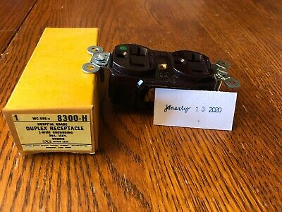 Hubbell 8300-H HBL8300H Brown Hospital Grade Receptacle 20A 125V 5-20R