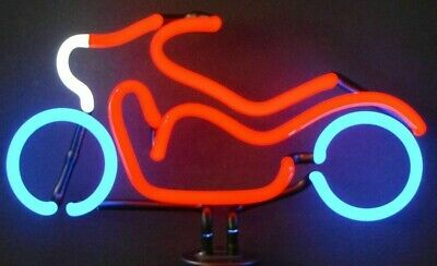 Motorcycle Neon Sign Sculpture Shelf or Wall Mount 14 x 11 x 6 Red White Blue