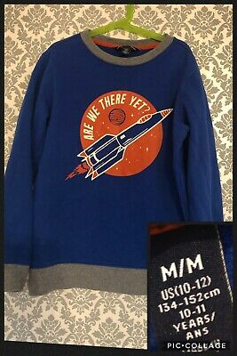 """Lands End 10-11 Years Immaculate Condition Blue Rocket """"are we there Yet"""" Jumper"""