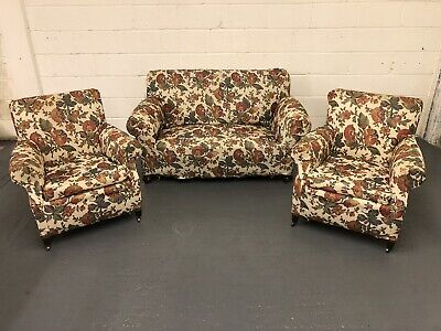 Victorian Three Piece Suite Drop Arm Sofa & Pair Of Armchairs In Floral Cover