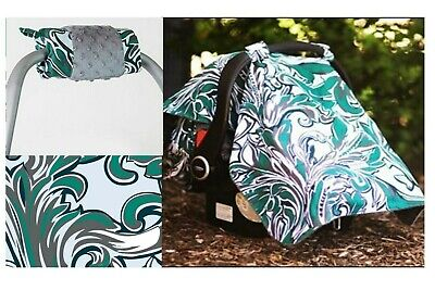 CARSEAT CANOPY REAGAN Infant Car Seat Cover Cotton & Minky + Handle Cushion