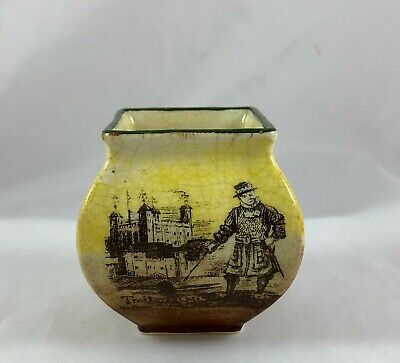Estate Fresh Antique Royal Doulton Miniature Vase Old London Scenic Thames Tower