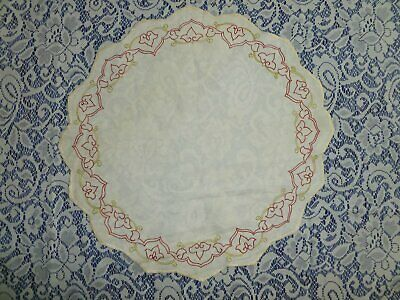 Antique Society Silk Doily Victorian Scrolls Hand Embroidery