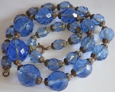 Antique Art Deco Faceted Blue Czech Glass Bead Necklace