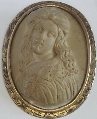 Unusual Antique Victorian Well Dressed Man Carved Lava Cameo Brooch