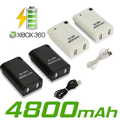 2x Rechargeable Battery Pack +USB Charger Cable For Xbox 360 Wireless Controller