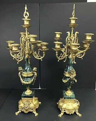 Very Heavy Pair Of French Green And Gold Candelabras
