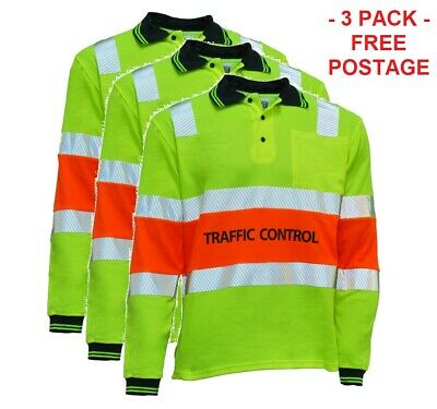 QUEENSLAND Traffic Controller Work Shirts - Bio-Motion Reflective Tape - 3 Pack