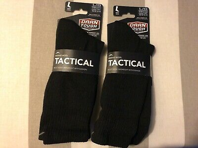 Darn Tough Tactical Boot Sock Midweight With Cushion Black Size Large (2 Pairs)