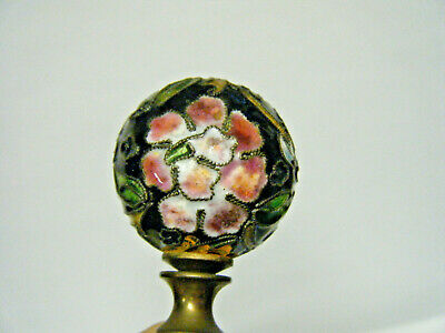 Vtg Chinese Japanese Black Cloisonne with Flowers Ball Lamp Finial Brass Screw