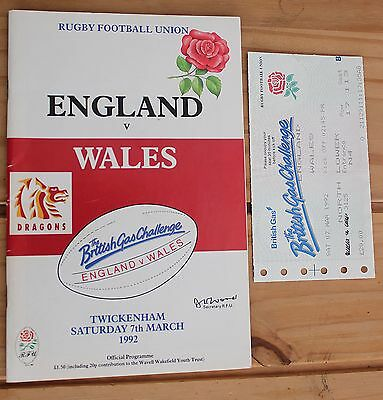 Rugby Union Programme 1992 England v Wales 1992 with Ticket Stub