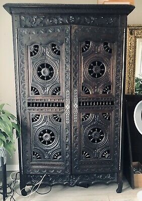 Gorgeous Hand-Carved Brittany Antique Armoire Wardrobe