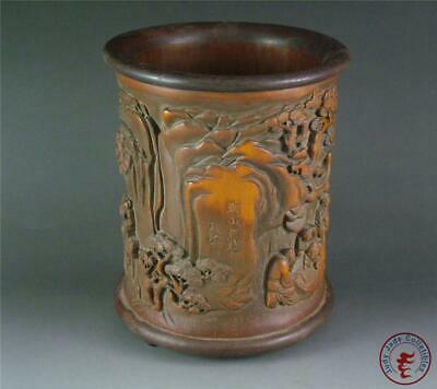 Fine Old Chinese Bamboo Carved Brush Pot FIGURES LIVING LEISURELY IN FOREST