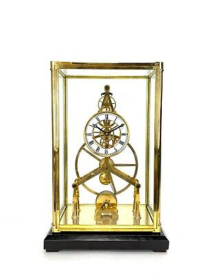 24K Gold Plated 8 Day Great Wheel Fusee Driven Porcelain Dial Skeleton Clock