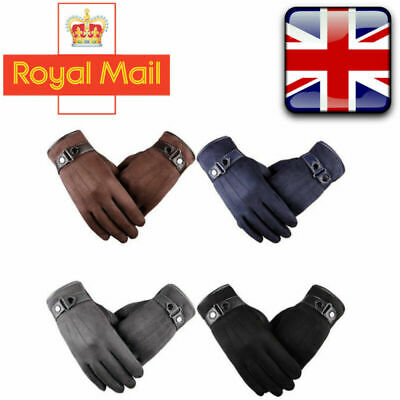 Men's Winter Warm Suede Leather Fleece Lined Touch Screen Driving Gloves 4 Color