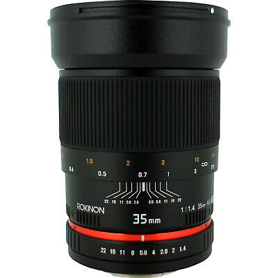 Rokinon 35mm F/1.4 AS UMC Wide Angle Lens for Nikon with Automatic Chip OPEN BOX