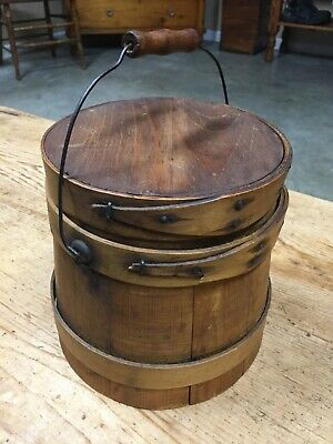 Antique Shaker Style Swing Bail Handle Wooden Pantry Primitive