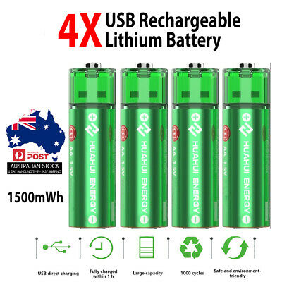 4x HUAHUI Micro USB Rechargeable Battery Lithium 1500mWh AA 1.5V 1000+ Cycle AU