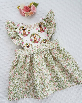 Cute Kids Baby Girls Sister Matching Floral Rabbit Jumpsuit Romper Dress Outfit