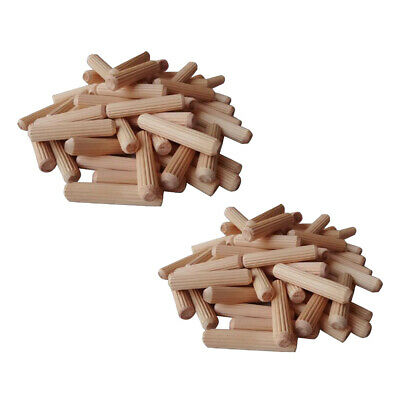 200 Pieces Wooden Dowel Cabinet Drawer Round Fluted Wood Craft Dowel Pins Rods
