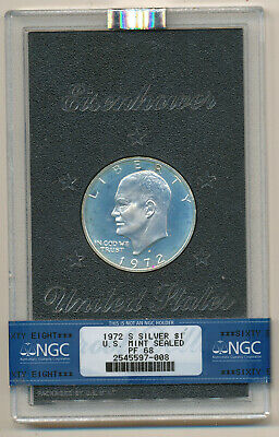 1972 S Silver IKE Dollar NGC PF68 Proof Mint Sealed Eisenhower Blue Green Color