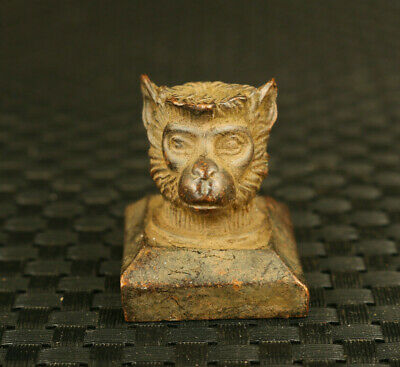 Fine old Chinese bronze hand cast monkey statue seal netsuke decoration gift