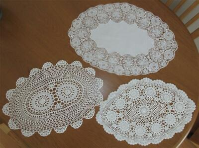 Three Large Vintage Hand Crocheted/Filet/Linen Oval DOILIES