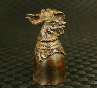 chinese old bronze hand casting cock statue collectable cup wine glass cup decor