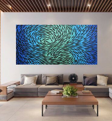 Art original Australia abstract canvas oil Painting Fish dreaming aqua blue