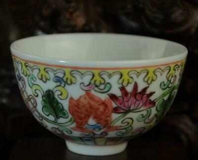chinese Handwork old famille-rose porcelain hand painted goldfish bowl /Aa02J