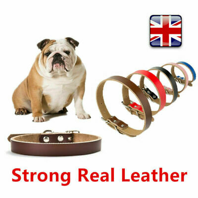 Strong Real Leather Dog Pet Puppy Adjustable Collar Necklace Control  Four Sizes