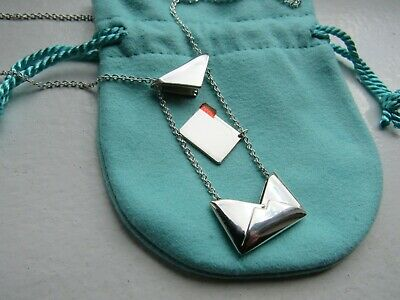 """NEW Tiffany & Co. Sterling Silver Envelope Pendant, 20"""" chain"""