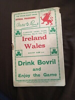 Ireland V  Wales Rugby Programme 1932