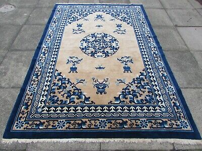 Antique Hand Made Art Deco Chinese Oriental Beige Blue Wool Large Rug 245x167cm