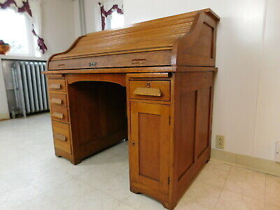 c1899 Antique S Roll Top Desk Jasper Quartersawn Oak Desk Beautiful Original 48W