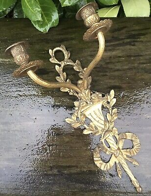 Old Vintage Antique Brass Wall Sconce Candle Holder Could Be Turned To Electric
