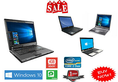 Cheap Fast Laptop Dual Core 2 Duo 4GB RAM 250GB HDD WINDOWS 7/10 WiFi Warranty