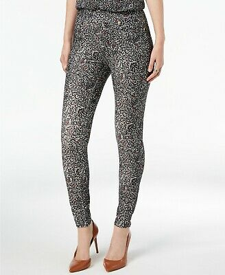 New $195 Michael Kors Women's Black Floral Printed Pull-On Trousers Pants Size L