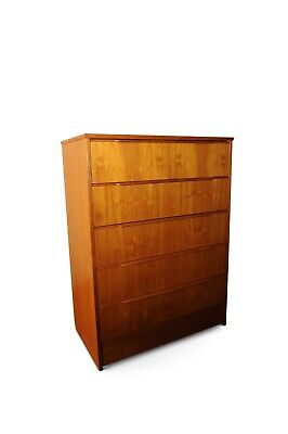 Teak Five drawer Tallboy Chest with scoop handles - Classic Mid Century - 1960's